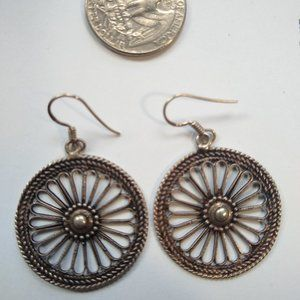 Earrings wheel shaped Indian antique Silver
